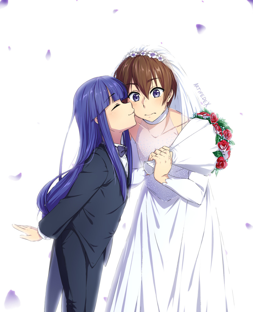 1boy 1girl absurdres age_difference artifedex black_suit blue_hair bouquet bow bowtie bridal_veil bride brown_hair cheek_kiss closed_eyes crossdressing dress embarrassed english_commentary eyebrows_visible_through_hair flat_chest flower formal furude_rika groom halo height_difference highres higurashi_no_naku_koro_ni hime_cut husband_and_wife kiss light_blush long_hair maebara_keiichi petals purple_neckwear shirt short_hair signature simple_background suit swap tuxedo veil violet_eyes wedding wedding_dress white_background white_shirt