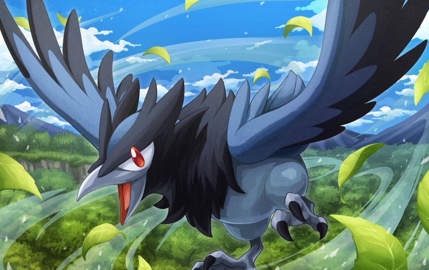 clouds commentary_request corvisquire day feathered_wings flying gen_8_pokemon hakuginnosora highres leaves_in_wind no_humans open_mouth outdoors pokemon pokemon_(creature) red_eyes sky solo talons tongue wind wings