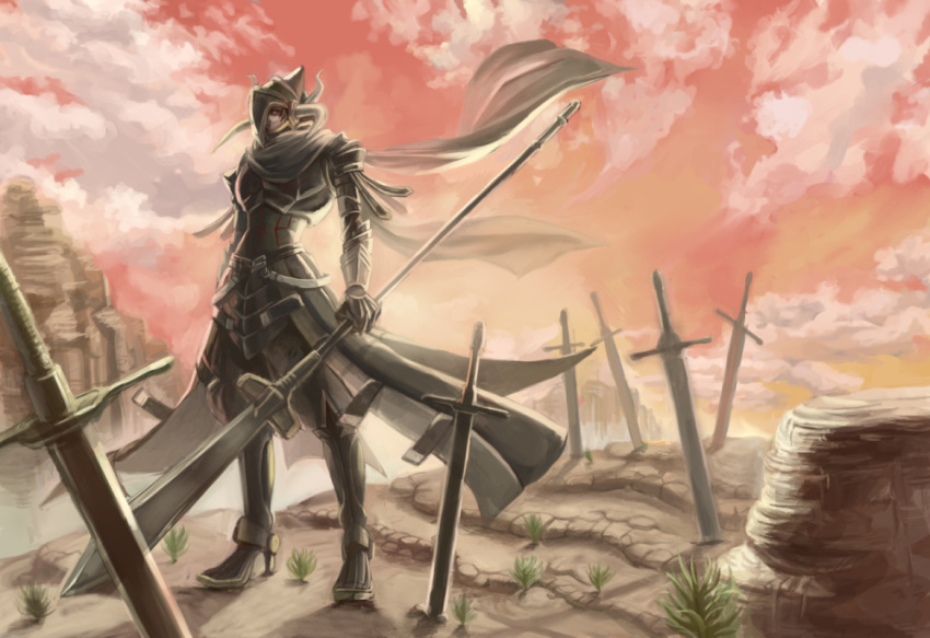 1boy armor black_armor breastplate brown_hair clouds cloudy_sky full_armor gauntlets graves greaves grey_scarf helmet holding holding_polearm holding_spear holding_weapon horned_helmet horns kyo_niku male_focus mountain original pauldrons plant planted planted_sword planted_weapon polearm rock scarf shoulder_armor sky solo spear standing sunset sword weapon yellow_eyes