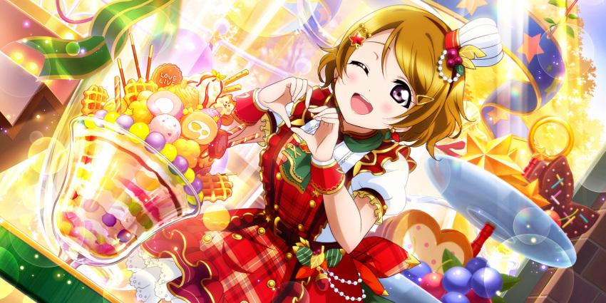 autumn blush brown_hair dress koizumi_hanayo love_live!_school_idol_festival_all_stars short_hair smile violet_eyes wink