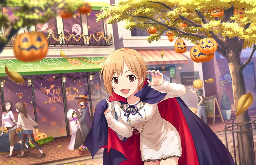 aiba_yumi blush brown_eyes brown_hair cape dress idolmaster_cinderella_girls_starlight_stage short_hair smile
