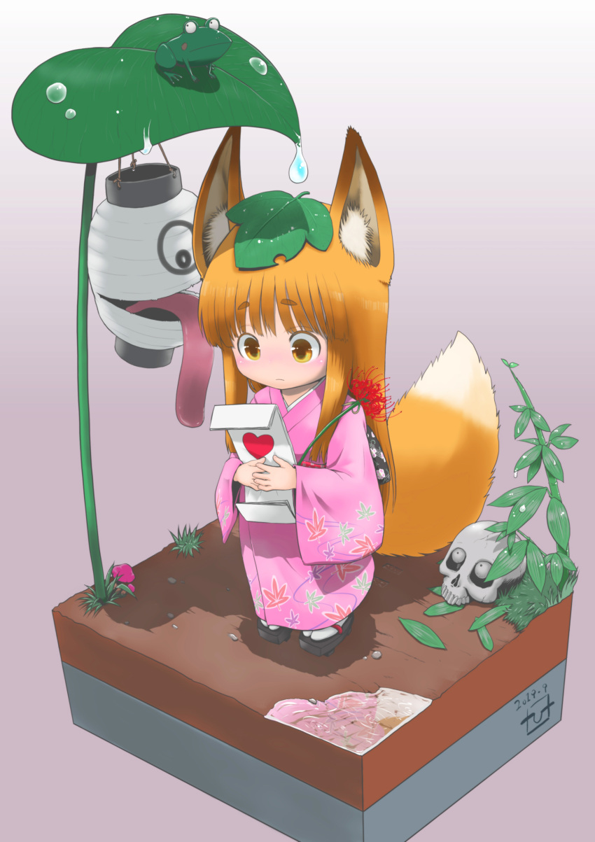 1girl 3others absurdres animal_ear_fluff animal_ears bangs black_eyes blush chouchin_obake closed_mouth commentary_request dated dirt eyebrows_visible_through_hair flower flower_request fox_ears fox_tail frog geta gradient gradient_background grass heart highres holding holding_flower japanese_clothes kimono lantern leaf leaf_on_head leaf_print leaf_umbrella long_hair long_sleeves long_tongue looking_at_another multiple_others obi oonuma_hiroshi orange_hair original paper_lantern pink_kimono plant print_kimono sash short_eyebrows signature simple_background skull solo_focus standing tail thick_eyebrows tongue tongue_out yellow_eyes youkai