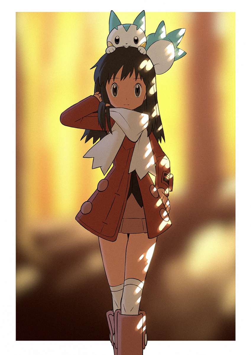 1girl bangs black_hair blurry blurry_background boots border closed_mouth coat commentary_request dawn_(pokemon) eyelashes gen_4_pokemon grey_eyes hand_on_hip hand_up highres long_hair long_sleeves looking_at_viewer on_head outside_border over-kneehighs pachirisu pink_footwear pokemon pokemon_(creature) pokemon_(game) pokemon_dppt pokemon_on_head pokemon_platinum red_coat scarf thigh-highs white_border white_legwear white_scarf yoshi_(moco1)