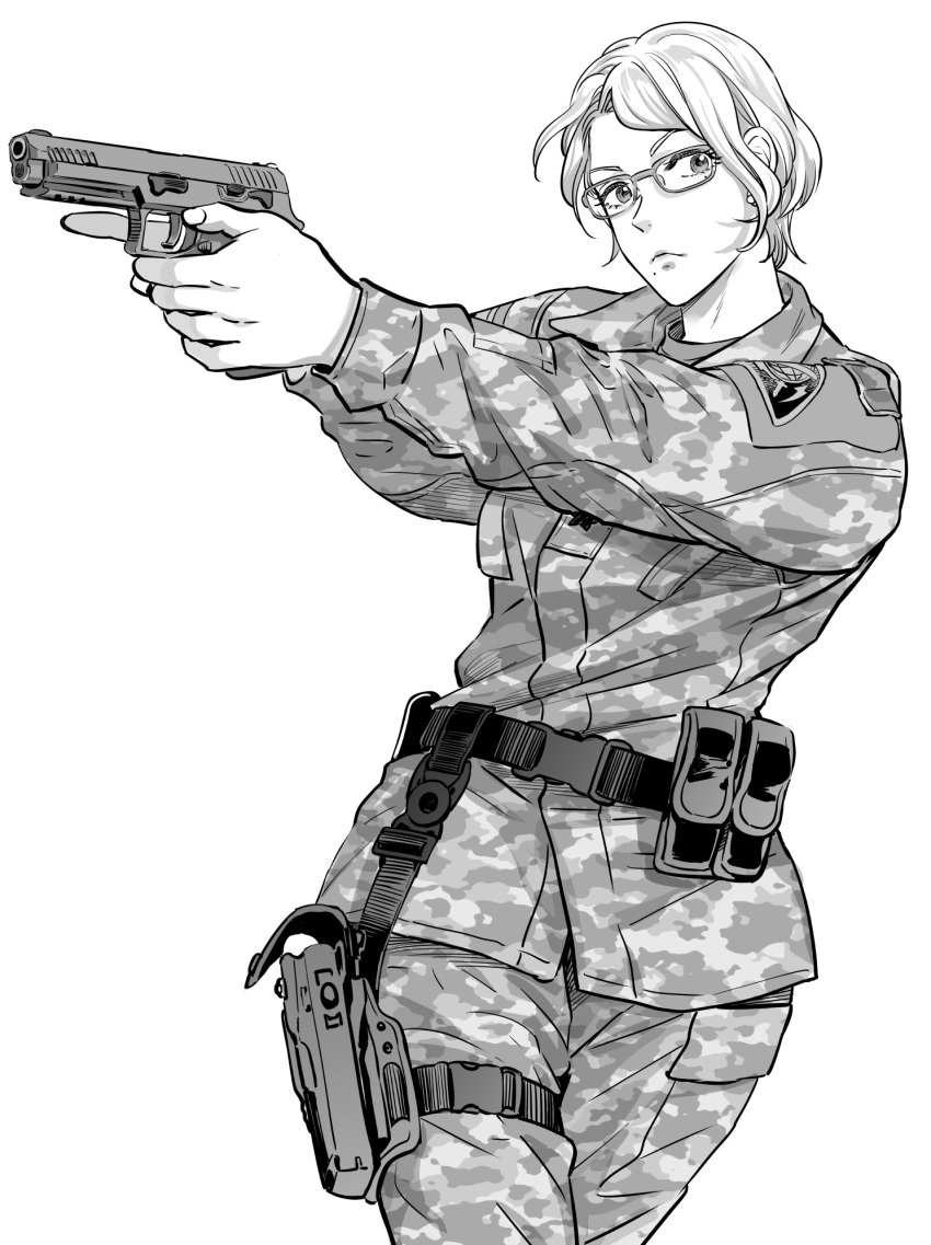 1girl ace_combat ace_combat_7 ammunition_pouch camouflage camouflage_pants camouflage_shirt commentary deanna_mconie earrings glasses greyscale gun handgun highres jewelry leg_holster looking_at_viewer military military_uniform monochrome pants patch pistol pouch short_hair takato15_c uniform weapon