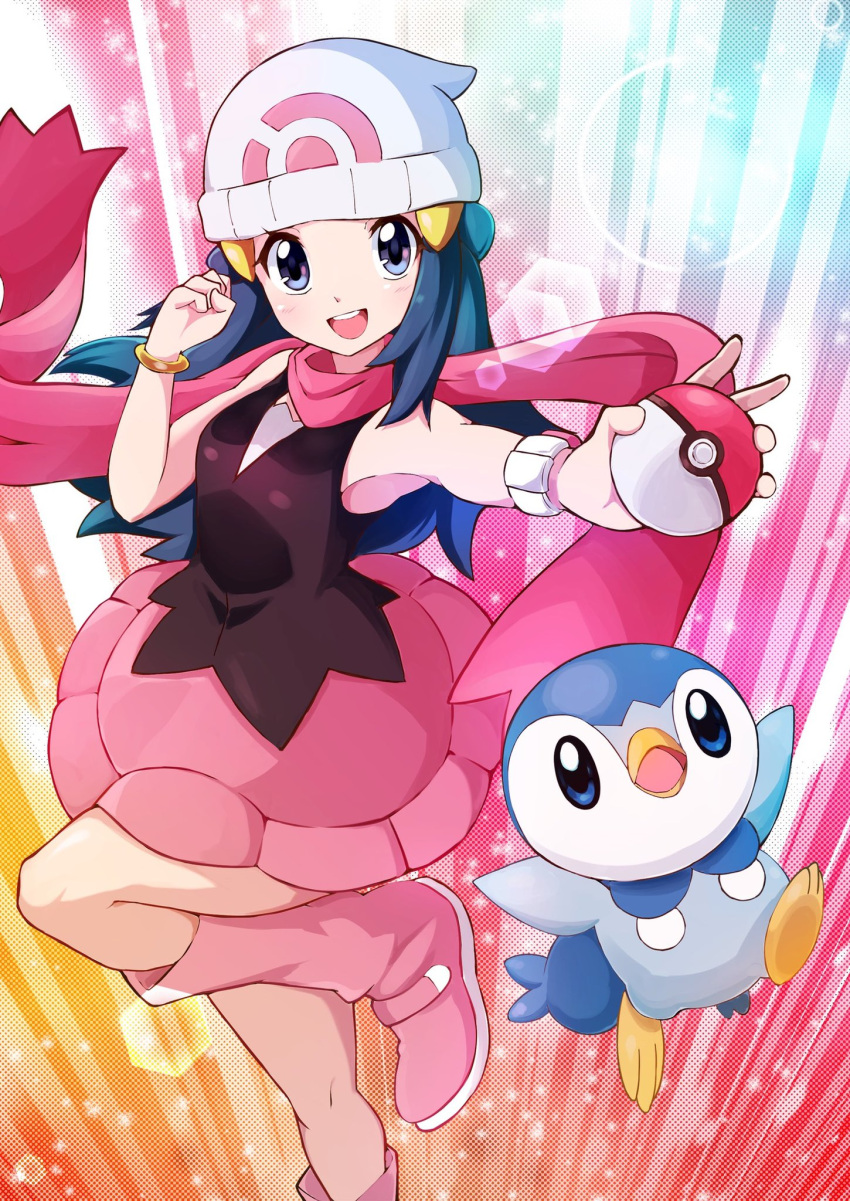 1girl beanie boots commentary_request dawn_(pokemon) eyelashes gen_4_pokemon hair_ornament hairclip hat highres holding holding_poke_ball knees leg_up long_hair looking_at_viewer miyama-san open_mouth pink_footwear pink_scarf piplup poke_ball poke_ball_(basic) pokemon pokemon_(creature) pokemon_(game) pokemon_dppt scarf smile starter_pokemon teeth tongue white_headwear