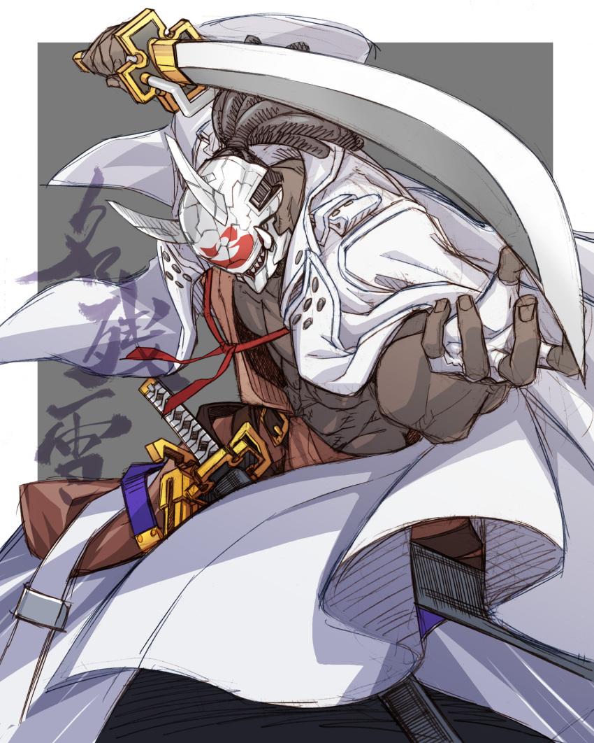 1boy dark_skin fighting_stance guilty_gear guilty_gear_strive hairlocs highres mask nagoriyuki nayutarou_(nyt_kag) sword weapon