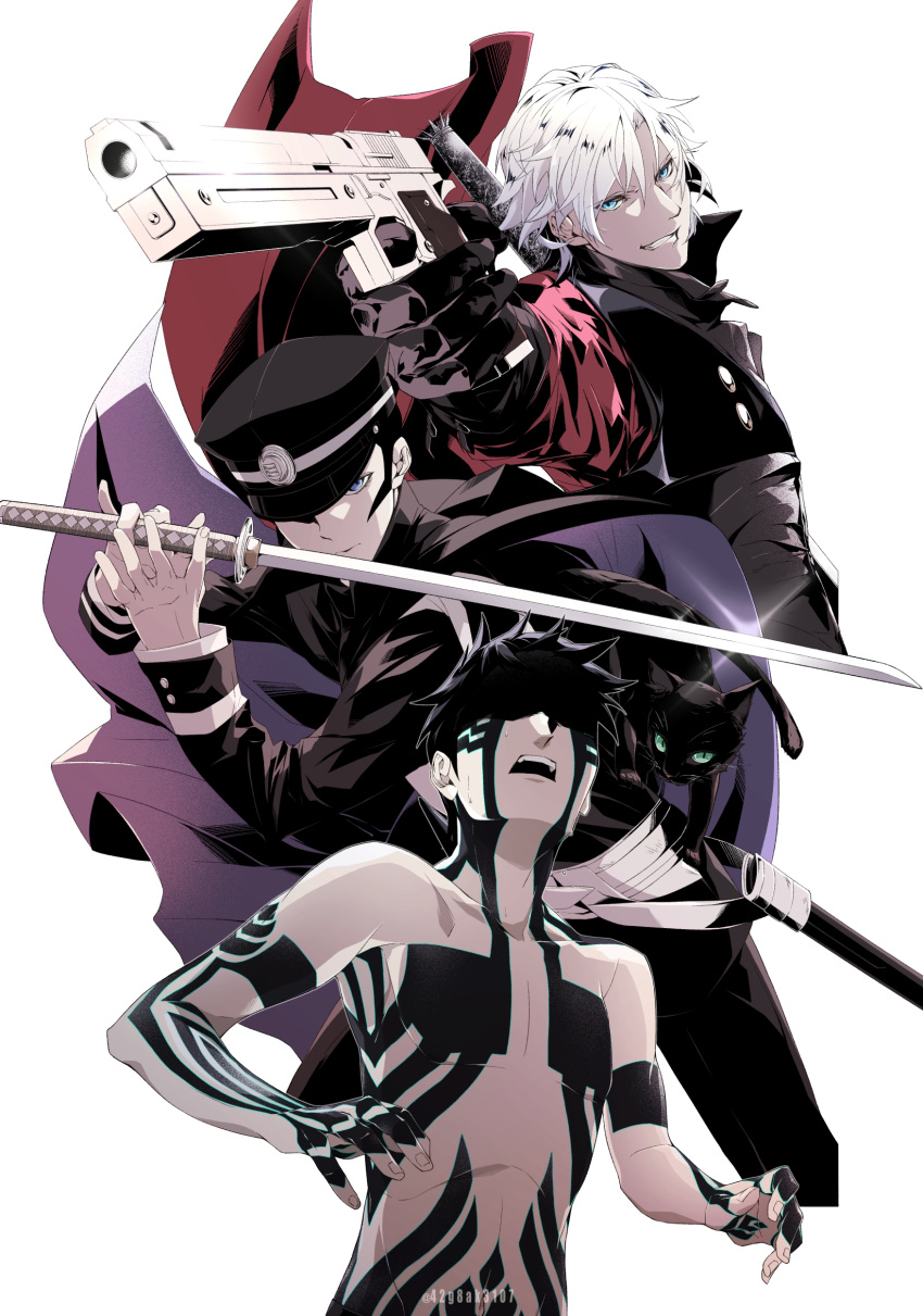 3boys absurdres animal black_gloves black_hair black_headwear blue_eyes cat character_request coat dante_(devil_may_cry) devil_may_cry devil_may_cry_2 eyebrows_visible_through_hair fingernails glint gloves grin gun hair_between_eyes hat highres holding holding_gun holding_sword holding_weapon katana kiriko_(42g8ak3107) male_focus megami_tensei multiple_boys navel open_mouth pointing_weapon red_coat scabbard shaded_face sheath simple_background smile sweat sword tattoo teeth twitter_username unsheathed upper_teeth weapon weapon_on_back white_background white_hair