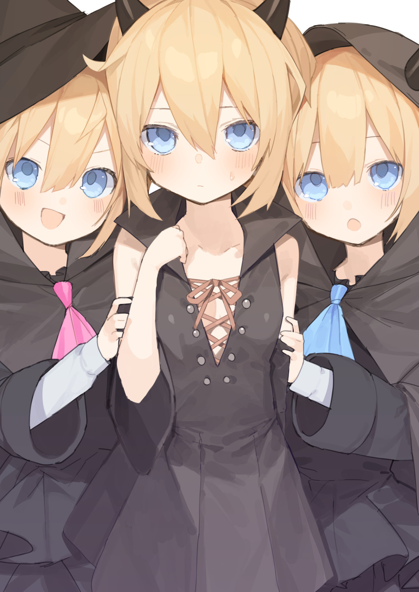 3girls :d :o absurdres alternate_costume animal_ears black_dress blanc blonde_hair blue_neckwear buran_buta closed_mouth detached_sleeves dress fake_animal_ears hair_between_eyes halloween halloween_costume hand_on_another's_arm hand_up hat headwear highres hood hood_up long_sleeves looking_at_viewer multiple_girls necktie neptune_(series) open_mouth ram_(neptune_series) rom_(neptune_series) short_hair simple_background smile white_background