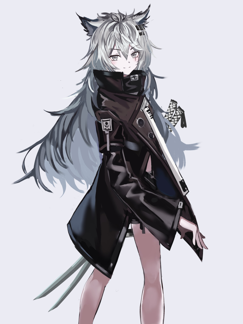 1girl absurdres animal_ears arknights bare_legs black_coat black_shorts blush chinese_commentary closed_mouth coat commentary cowboy_shot eyebrows_visible_through_hair grey_background grey_eyes hair_between_eyes hair_ornament hairclip highres katana kit lappland_(arknights) long_hair long_sleeves looking_at_viewer looking_back scar scar_across_eye short_shorts shorts silver_hair simple_background smile solo standing sword weapon wolf_ears