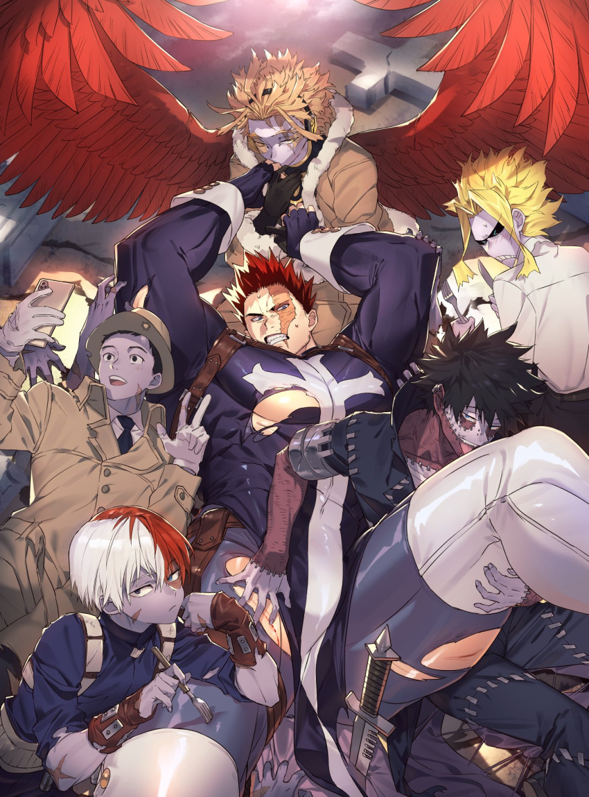 >_< 6+boys abs all_might alternate_costume bara bare_chest black_hair blonde_hair blue_eyes bodysuit boku_no_hero_academia bulge character_request chest cosplay facial_hair feet_out_of_frame fingerless_gloves frankenstein's_monster frankenstein's_monster_(cosplay) gloves grey_skin groping halloween halloween_costume hand_kiss hawks_(boku_no_hero_academia) highres kiss koooogasya licking male_focus monster multicolored_hair multiple_boys muscle navel navel_hair nipples pelvic_curtain redhead scar scar_across_eye self_shot short_hair spiky_hair spread_legs stitches stubble thick_thighs thigh_grab thighs todoroki_enji todoroki_shouto tombstone tongue tongue_out torn_bodysuit torn_clothes two-tone_hair white_hair zombie