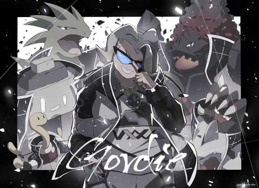 1boy adjusting_eyewear artist_name barbaracle black-framed_eyewear blue-tinted_eyewear character_name coalossal coat commentary_request gen_2_pokemon gen_6_pokemon gen_8_pokemon gloves gordie_(pokemon) gym_leader hand_up highres jewelry looking_at_viewer male_focus multicolored_hair necklace odd_(hin_yari) open_clothes open_coat pokemon pokemon_(creature) pokemon_(game) pokemon_swsh shuckle smile stonjourner sunglasses teeth two-tone_hair tyranitar watermark