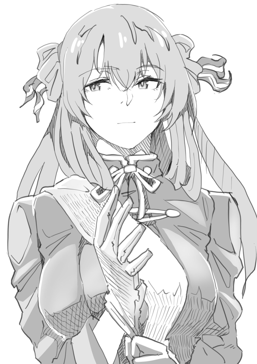 1girl breasts expressionless girls_frontline glove_pull greyscale hair_between_eyes highres kimuwaipu large_breasts long_hair looking_to_the_side m1903_springfield_(girls_frontline) monochrome sketch solo twintails uniform upper_body white_background