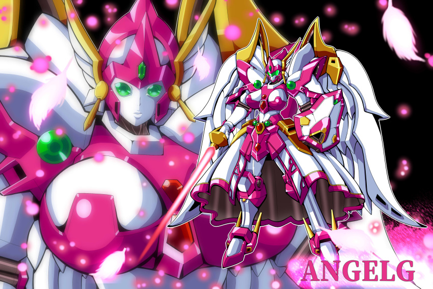 absurdres angelg breasts character_name energy_sword green_eyes highres holding holding_sword holding_weapon large_breasts looking_at_viewer mecha mechanical_skirt mechanical_wings meganeon multiple_views no_humans parted_lips shield standing super_robot_wars super_robot_wars_original_generation sword weapon wings