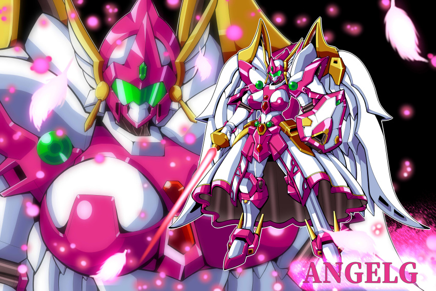 absurdres angelg breasts character_name energy_sword highres holding holding_sword holding_weapon large_breasts looking_at_viewer mecha mechanical_skirt mechanical_wings meganeon multiple_views no_humans shield standing super_robot_wars super_robot_wars_original_generation sword visor weapon wings