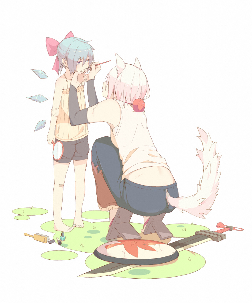 2girls absurdres alternate_costume animal_ears applying_makeup back bandages bare_arms bare_legs bare_shoulders barefoot blue_hair bow casual cirno contemporary detached_sleeves full_body geta hair_bow hand_mirror hand_on_another's_chin hand_on_own_arm hands_up height_difference highres holding ice ice_wings inubashiri_momiji long_skirt looking_at_another makeup makeup_brush medium_hair mirror multiple_girls open_mouth pink_hair sarashi scar shield shima_(landsuzume) shirt short_hair shorts skirt sleeveless sleeveless_shirt squatting standing sword tail tail_through_clothes toes touhou weapon wings wolf_ears wolf_girl wolf_tail