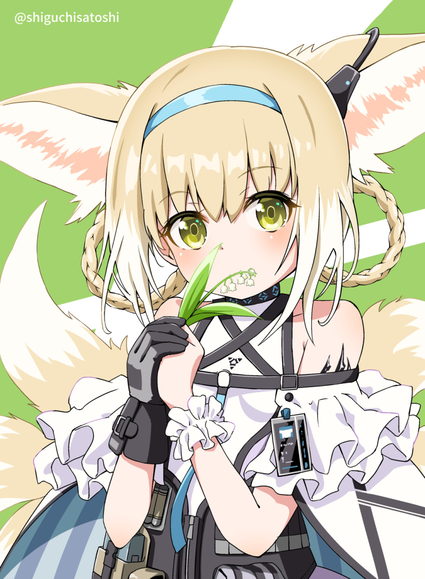 1girl animal_ear_fluff animal_ears arknights bangs bare_shoulders black_gloves blue_hairband brown_eyes commentary_request eyebrows_visible_through_hair flower gloves green_background hair_between_eyes hairband highres holding holding_flower light_brown_hair lily_of_the_valley multicolored_hair multiple_tails panikuru_yuuto single_glove single_wrist_cuff solo striped suzuran_(arknights) tail twitter_username two-tone_background two-tone_hair upper_body vertical_stripes white_background white_flower white_hair wrist_cuffs