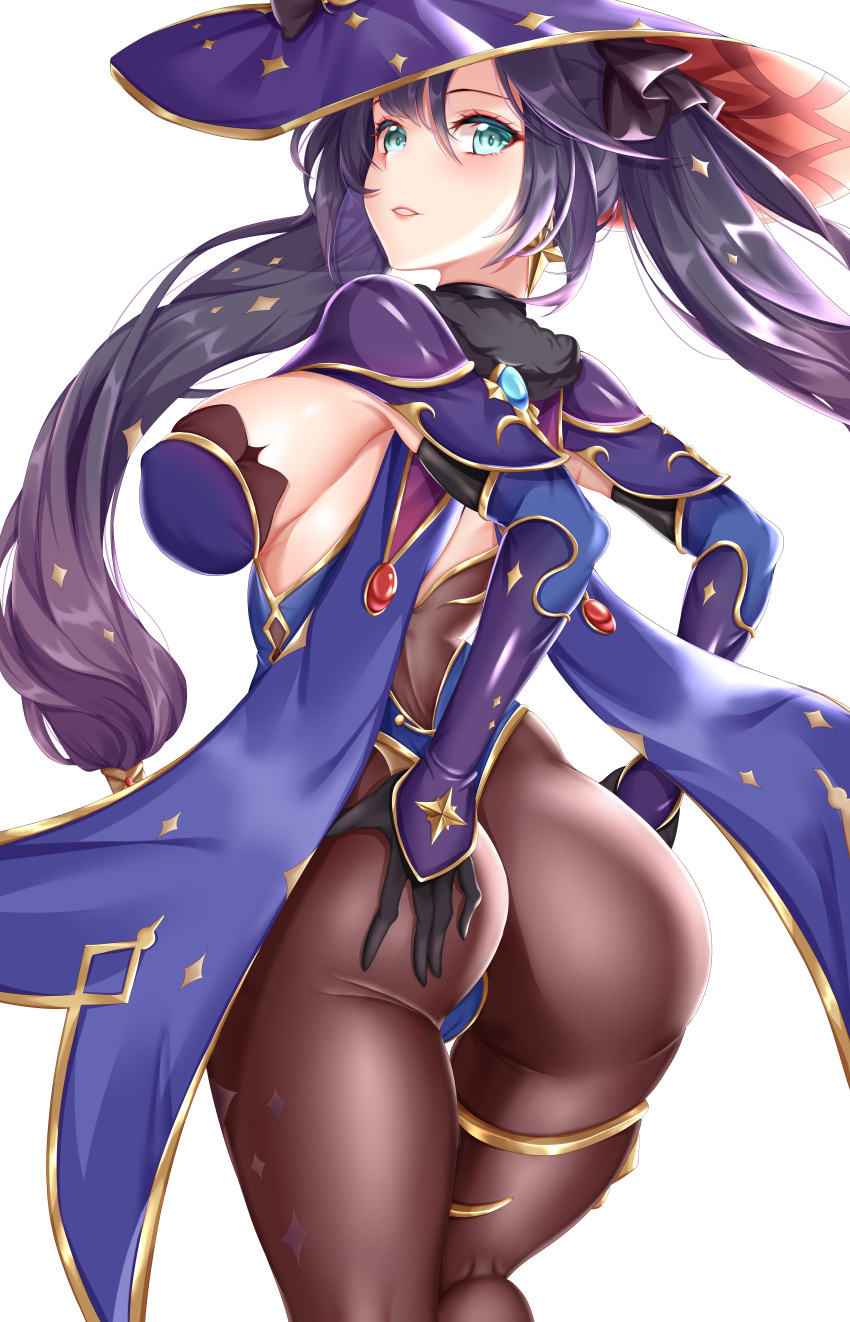 1girl absurdres aqua_eyes ass black_gloves black_legwear bodystocking bodysuit_under_clothes breasts cape earrings genshin_impact gloves hand_on_ass hat highres jewelry leotard looking_back mage mona_(genshin_impact) pantyhose purple_cape purple_leotard sakuraoo sideboob star_(symbol) star_earrings thighlet twintails witch_hat wizard_hat