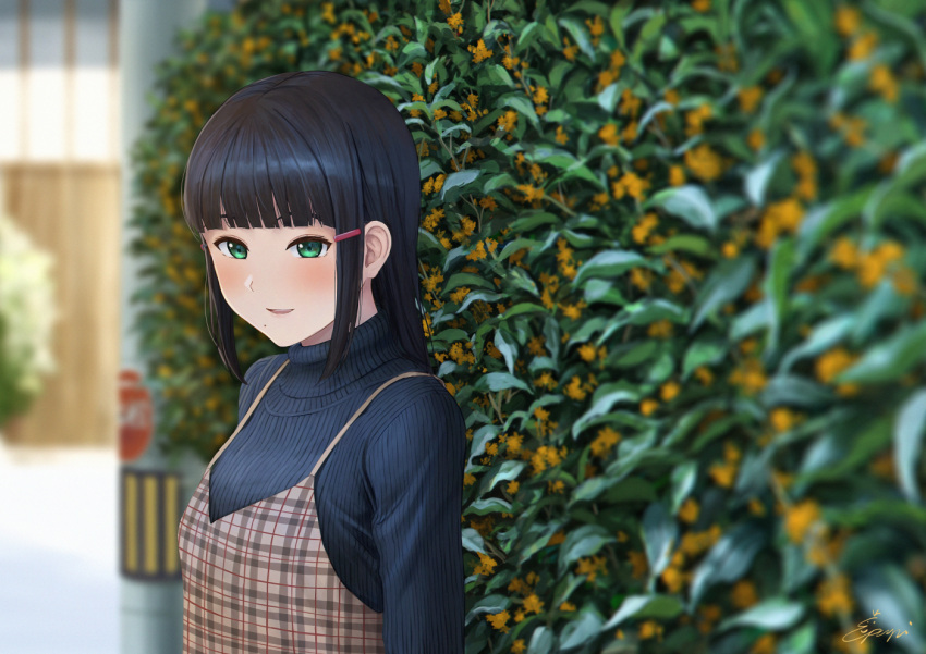 1girl :d alternate_costume bangs black_hair black_sweater blunt_bangs blurry blurry_background blurry_foreground blush brown_dress casual commentary_request day depth_of_field dress green_eyes hair_ornament hairclip hedge_(plant) kurosawa_dia long_hair looking_away looking_down love_live! love_live!_sunshine!! mole mole_under_mouth open_mouth outdoors papi_(papiron100) pinafore_dress plaid plaid_dress signature smile solo sweater upper_body