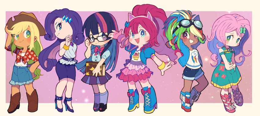 6+girls animal_ears applejack arms_behind_head blonde_hair blue_bow blue_eyes blue_footwear boots bow bracelet bright_pupils brown_footwear chibi cowboy_hat cropped_jacket denim denim_skirt diamond_hair_ornament dress fake_animal_ears fluttershy frilled_skirt frills glasses green_dress green_eyes hair_bow hat high_heels high_tops highres horse_ears jewelry kotobukiya_bishoujo long_hair looking_at_viewer miyata_(lhr) multicolored_hair multiple_girls my_little_pony my_little_pony_friendship_is_magic pencil_skirt pink_bow pink_hair pink_skirt pinkie_pie plaid pleated_skirt puffy_short_sleeves puffy_sleeves purple_footwear purple_legwear purple_skirt rainbow_dash rarity shirt short_sleeves shorts shy skirt smile socks streaked_hair tan tied_shirt tomboy twilight_sparkle violet_eyes