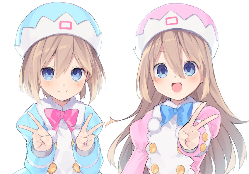 2girls :d blue_coat blue_eyes blue_headwear blue_neckwear blush bow bowtie brown_hair buran_buta coat double-breasted double_v fur-trimmed_coat fur_trim hair_between_eyes hand_up hands_up happy hat highres long_hair looking_at_viewer medium_hair multiple_girls neptune_(series) open_mouth pink_coat pink_headwear pink_neckwear pom_pom_(clothes) ram_(neptune_series) rom_(neptune_series) siblings simple_background sisters smile twins upper_body v very_long_hair white_background
