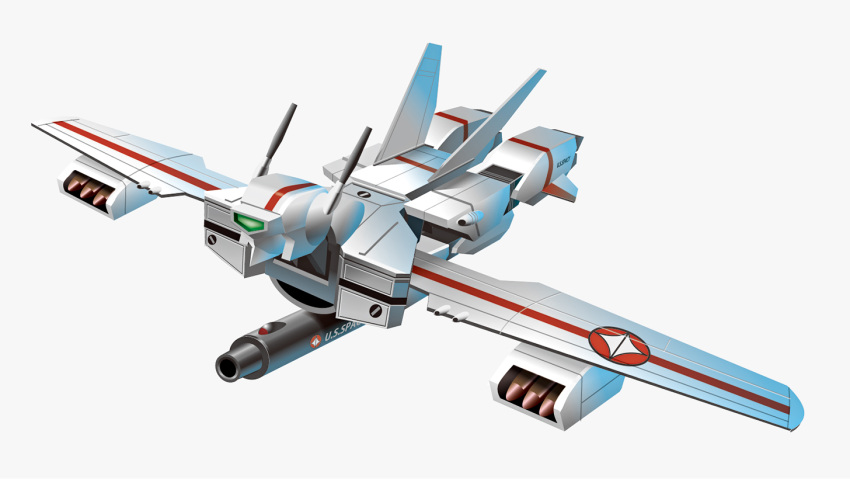 alternate_form choujikuu_yousai_macross flying fusion groizer_x groizer_x_(mecha) macross mecha no_humans parody science_fiction solo super_haboki vf-1 visor white_background wings