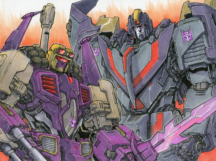 2boys alex_milne astrotrain blitzwing commission decepticon english_commentary goggles goggles_on_head holding holding_sword holding_weapon looking_at_viewer mecha multiple_boys no_humans red_eyes scowl sword the_transformers_(idw) transformers visor weapon