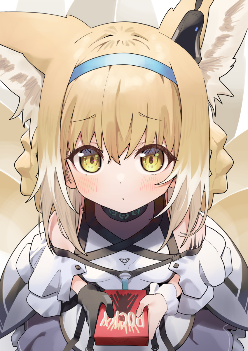 1girl :o absurdres animal_ear_fluff animal_ears arknights bangs bare_shoulders black_gloves blue_hairband blush box braid breasts brown_hair clothing_cutout commentary eyebrows_visible_through_hair gloves hair_between_eyes hair_rings hairband highres holding holding_box looking_at_viewer multicolored_hair multiple_tails parted_lips purple_skirt shoulder_cutout single_glove single_wrist_cuff skirt small_breasts solo standing suzuran_(arknights) syhan symbol_commentary tail two-tone_hair white_hair wrist_cuffs yellow_eyes
