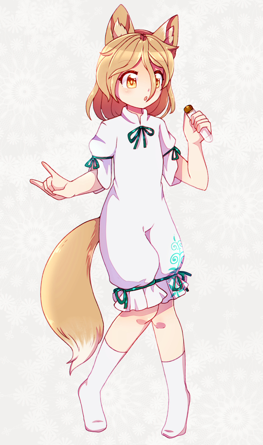 1girl :o absurdres animal_ear_fluff animal_ears arms_up blonde_hair calf_socks dungeon_toaster floral_background fox_ears fox_girl fox_shadow_puppet fox_tail full_body grey_background hair_between_eyes highres holding knees_together_feet_apart kudamaki_tsukasa looking_to_the_side no_shoes onesie ribbon shirt short_hair short_sleeves solo standing tail thigh_ribbon touhou vial white_legwear white_shirt yellow_eyes