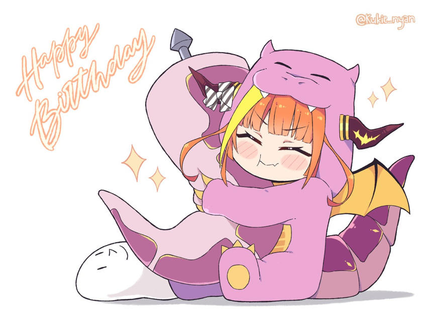 1girl :t alternate_costume anal_tail animal_hood asacoco bangs blonde_hair blunt_bangs blush_stickers bow chibi closed_eyes closed_mouth commentary diagonal-striped_bow dragon_girl dragon_horns dragon_tail english_commentary english_text eyebrows_visible_through_hair fake_tail fang full_body happy_birthday hololive hood horn_bow horns kiryu_coco kiryu_coco_(dragon) kukie-nyan long_hair multicolored_hair object_hug orange_hair ryoushi_chicken_soup_grass_big_chungus sidelocks simple_background sitting skin_fang smile solo sparkle streaked_hair striped striped_bow stuffed_toy tail twitter_username virtual_youtuber white_background