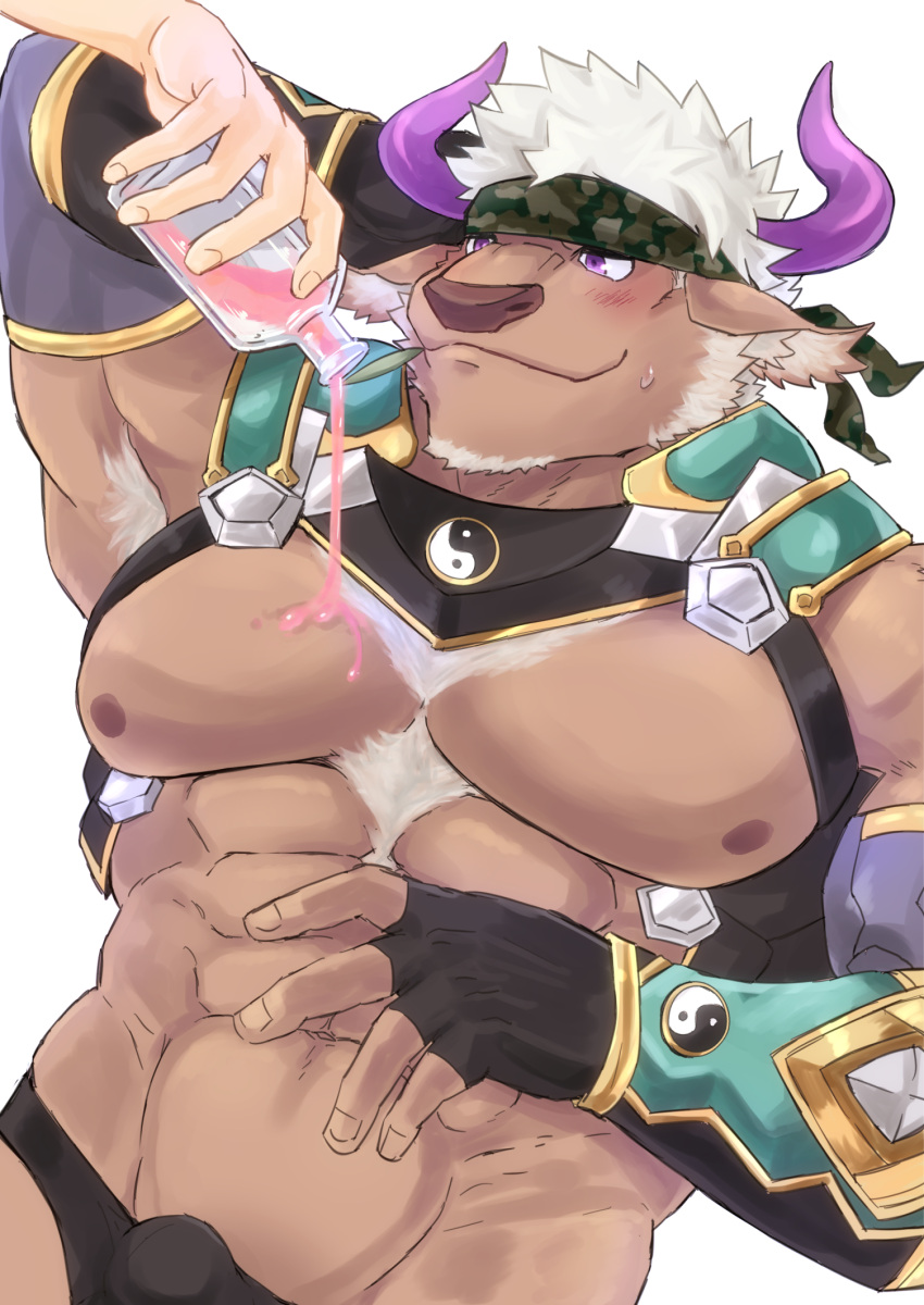 1boy abs animal_ears armpit_hair bara bulge chest chest_hair chest_harness cow_boy cow_ears cow_horns facial_hair fingerless_gloves furry gloves goatee gumiten harness highres horns male_focus male_swimwear muscle navel purple_horns revealing_clothes shennong_(tokyo_afterschool_summoners) short_hair sideburns spilling swim_briefs swimwear tokyo_houkago_summoners upper_body violet_eyes white_hair yin_yang