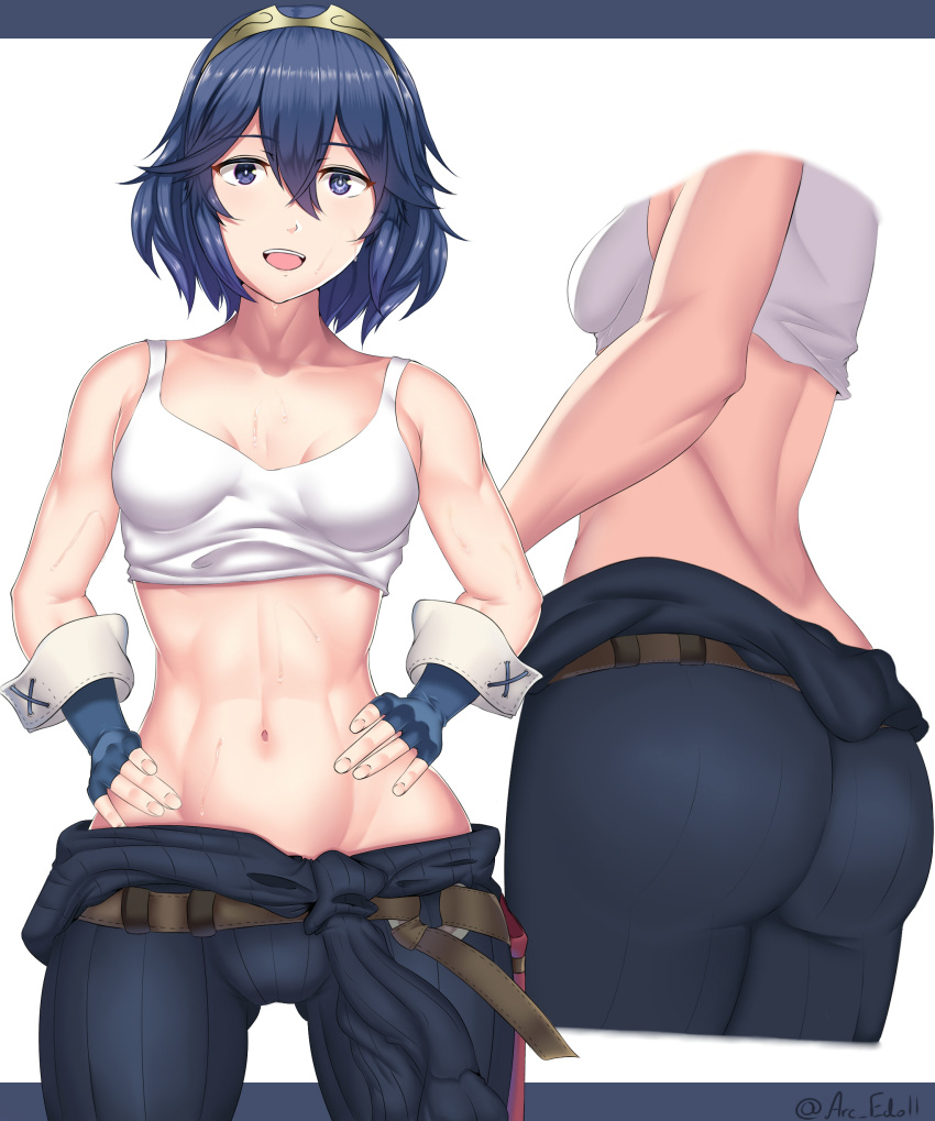 1girl absurdres arcedo artist_name ass blue_eyes blue_hair breasts english_commentary fire_emblem fire_emblem_awakening hairband hands_on_hips highres lucina_(fire_emblem) midriff multiple_views navel open_mouth short_hair small_breasts tank_top toned
