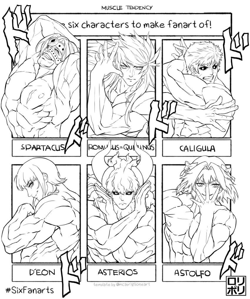 6+boys abs absurdres arms_up asterios_(fate/grand_order) astolfo_(fate) bangs black_nails black_sclera caligula_(fate/grand_order) character_name chevalier_d'eon_(fate/grand_order) closed_mouth completely_nude cow_horns dark_blue_hair earrings elbow_gloves english_text fate/grand_order fate_(series) gloves highres horns jamrolypoly jewelry jojo_no_kimyou_na_bouken jojo_pose long_hair looking_at_viewer male_focus menacing_(jojo) multiple_boys muscle navel nipples nude pose romulus_quirinus_(fate/grand_order) simple_background six_fanarts_challenge smile sound_effects spartacus_(fate) uncolored upper_body very_long_hair white_background
