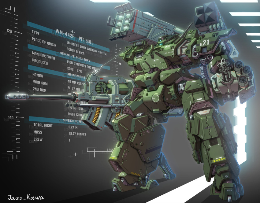 glowing gun highres holding holding_gun holding_weapon holographic_interface jazz_kawa_sodom mecha missile_pod no_humans original science_fiction solo standing visor weapon