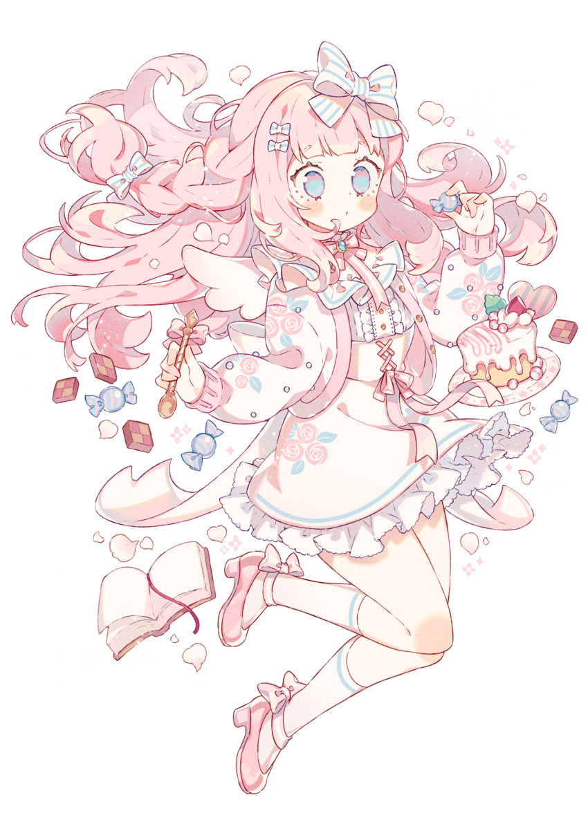 1girl blue_eyes blush book bow cake checkerboard_cookie cookie food full_body hair_bow highres holding holding_spoon long_hair long_sleeves open_book original pink_footwear pink_hair simple_background skirt socks spoon very_long_hair wakanagi_eku white_background white_legwear white_skirt wrapped_candy