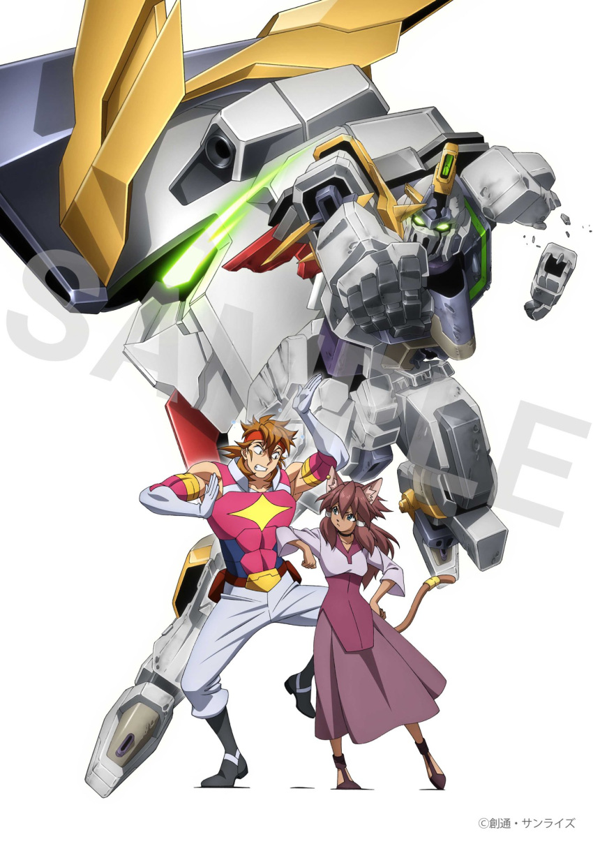 1boy 1girl abs animal_ear_fluff animal_ears annoyed artist_name brown_hair clenched_hand clenched_teeth damaged ear_piercing elbowing glowing glowing_eyes green_eyes grey_eyes gundam gundam_aegis_knight gundam_build_divers gundam_build_divers_re:rise gundam_justice_knight hand_on_hip headband highres looking_down maiya_(gundam_build_divers_re:rise) mecha official_art piercing red_headband sample second-party_source tail teeth torimachi_kazami watermark white_background