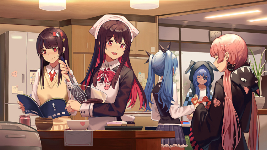 5girls alternate_hair_color animal_ears animal_hood annie_bass apron artist_request beige_sweater_vest black_ribbon black_shirt black_vest blue_hair blue_skirt blush book bow bowl brown_hair brown_kimono bunny_pin cabinet cat_hair_ornament cat_hood checkered_sleeves chef_hat chocolate clock closed_eyes collared_shirt colored_inner_hair cookbook cookie cookie_cutter cooking cuffs doughnut elluka_(witch's_weapon) eyebrows_visible_through_hair eyepatch food frilled_bow frills game_cg hair_between_eyes hair_bow hair_ornament hanging_light hat heart heart_eyepatch hime_cut holding holding_book holding_bowl holding_whisk hood hoodie japanese_clothes jar kimono kiriyu_(witch's_weapon) kitchen light_blue_hair lights long_hair low_twintails miniskirt multicolored_hair multiple_girls napkin necktie open_mouth pink_hair plant pleated_skirt rabbit rabbit_ears raglan_sleeves red_bow red_eyes red_neckwear refrigerator ren_(witch's_weapon) ribbon rice_cooker school_uniform shadow shirt skirt sliding_doors smile smirk sticky_note sweater_vest table thighs twintails vase very_long_hair vest wall_clock whisk white_shirt window witch's_weapon yin_yang