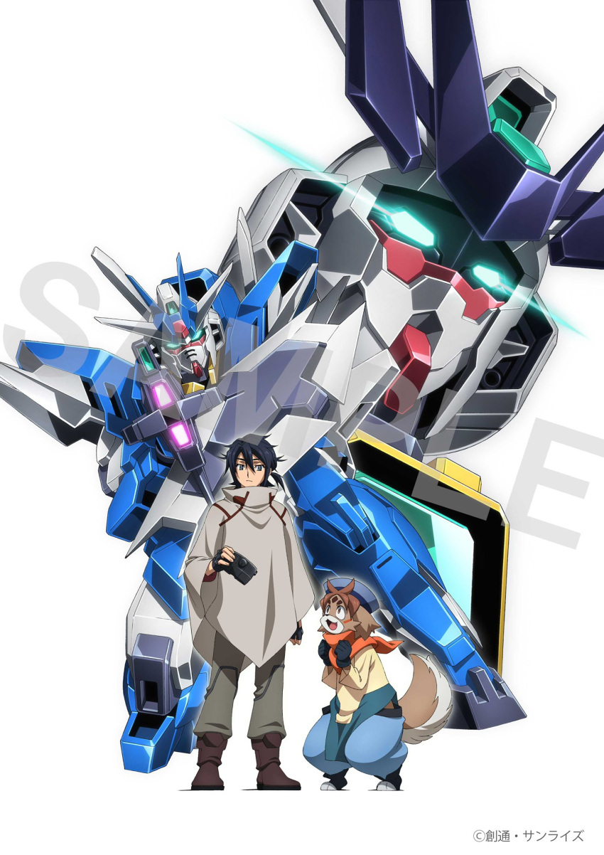 2boys aiming_at_viewer animal_ears aqua_eyes artist_request beam_rifle black_eyes black_gloves black_hair blue_headwear dog_boy dog_ears dog_tail earthree_gundam energy_gun freddie_(gundam_build_divers_re:rise) furry gloves glowing glowing_eyes gundam gundam_build_divers gundam_build_divers_re:rise hat highres kneeling kuga_hiroto looking_at_another looking_at_viewer looking_up mecha multiple_boys official_art open_mouth poncho sample second-party_source tail tied_hair uraven_gundam v-fin watermark weapon white_background
