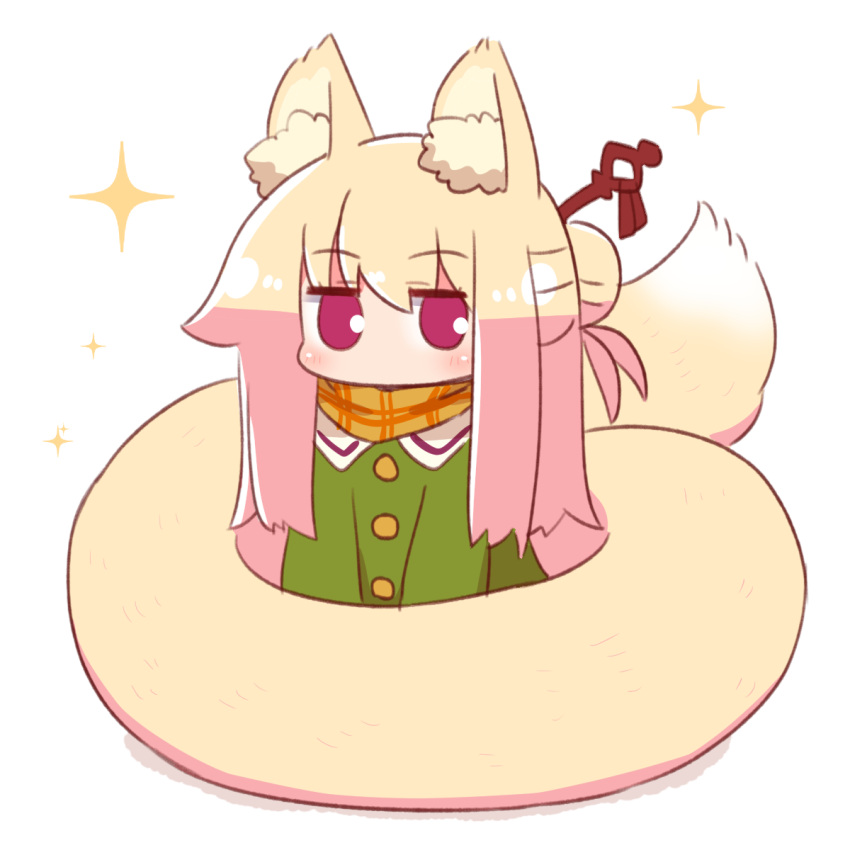 1girl alternate_hair_length alternate_hairstyle animal_ear_fluff animal_ears bangs blonde_hair blush brown_scarf commentary_request eyebrows_visible_through_hair fox_ears fox_girl fox_tail full_body green_shirt hair_between_eyes hair_bun hair_ornament highres kemomimi-chan_(naga_u) long_hair looking_at_viewer naga_u original scarf shadow shirt simple_background solo sparkle tail violet_eyes white_background
