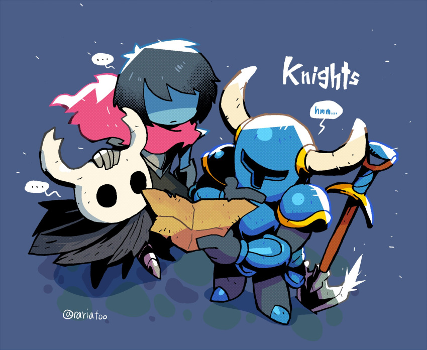 ... 1boy 2others androgynous armor black_hair blue_background blue_skin cloak closed_mouth crossover deltarune gloves helmet highres holding holding_map hollow_knight horned_helmet horns knight_(hollow_knight) kris_(deltarune) map multiple_others rariatto_(ganguri) red_scarf scarf shaded_face shovel shovel_knight shovel_knight_(character) simple_background spoken_ellipsis twitter_username weapon