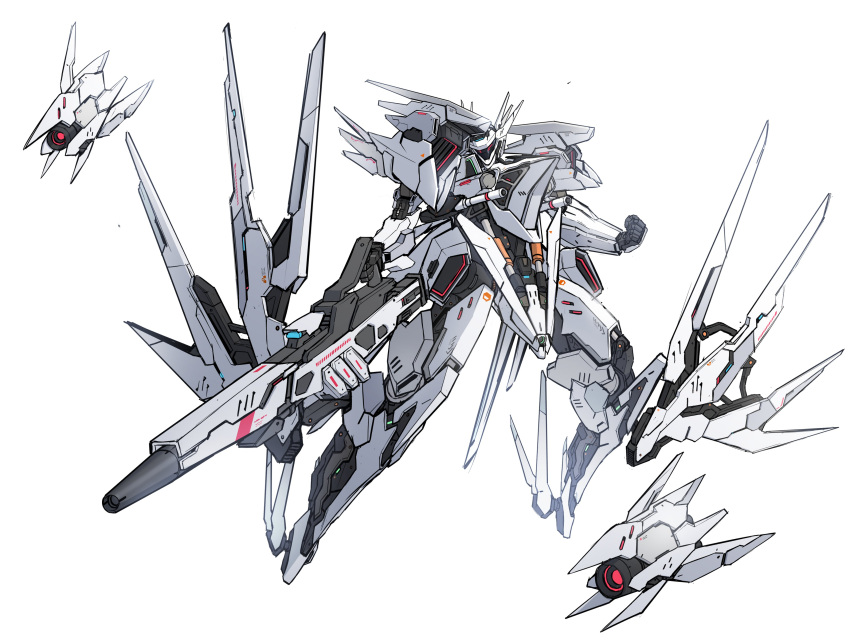 absurdres clenched_hands energy_gun flying funnels gun highres holding holding_gun holding_weapon looking_down mecha mechanical_wings no_humans original red_eyes science_fiction tamasi visor weapon white_background wings