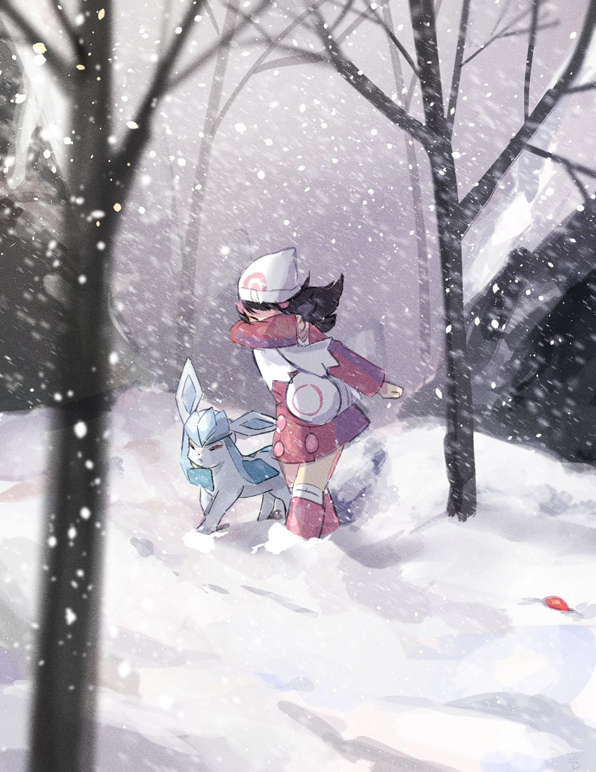 1girl bag bare_tree beanie black_hair boots buttons closed_eyes commentary_request covering_face dawn_(pokemon) duffel_bag floating_hair gen_4_pokemon glaceon hat highres long_hair long_sleeves over-kneehighs pink_coat pink_footwear pokemon pokemon_(creature) pokemon_(game) pokemon_dppt pokemon_platinum ririmon scarf snow snowing standing thigh-highs tree white_bag white_headwear white_legwear white_scarf winter_clothes