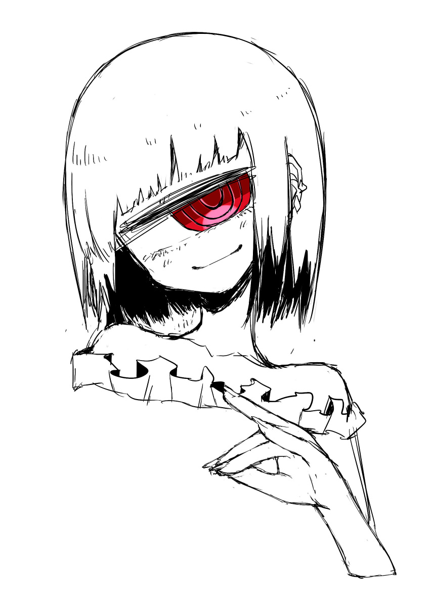 1girl absurdres bangs bare_shoulders blunt_bangs collarbone cyclops ear_piercing fingernails fox_shadow_puppet frills head_tilt highres kurome_shirome looking_at_viewer medium_hair one-eyed original piercing red_eyes simple_background sketch smug solo spiral_eyes spot_color upper_body white_background