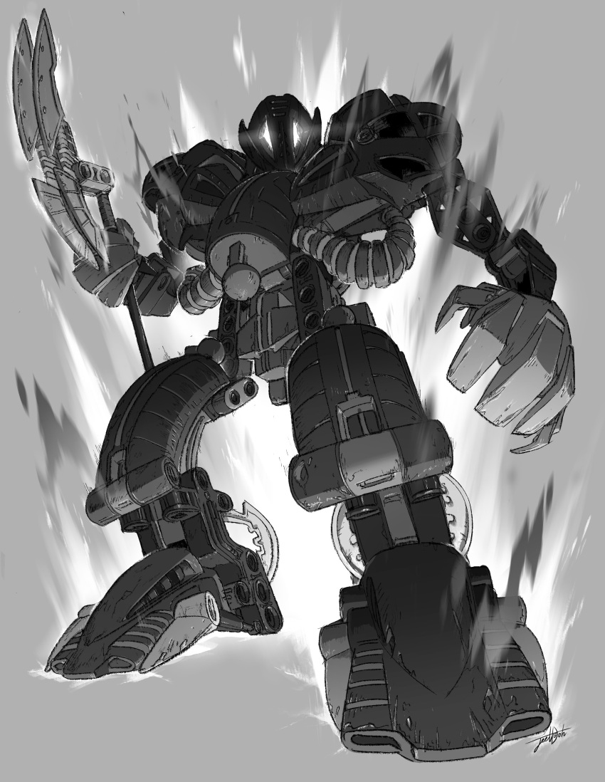 absurdres bionicle glowing glowing_eyes grey_background greyscale highres holding holding_weapon jeetdoh looking_down monochrome no_humans open_hands robot staff teridax the_lego_group weapon white_eyes