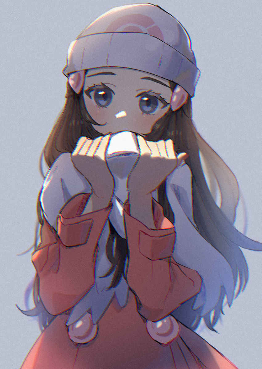 1girl beanie blush brown_hair coat commentary_request dawn_(pokemon) eyelashes grey_eyes hair_ornament hairclip hands_up hat head_tilt highres holding holding_clothes holding_scarf long_hair long_sleeves looking_at_viewer myuuu_ay pokemon pokemon_(game) pokemon_dppt pokemon_platinum scarf solo upper_body white_headwear white_scarf