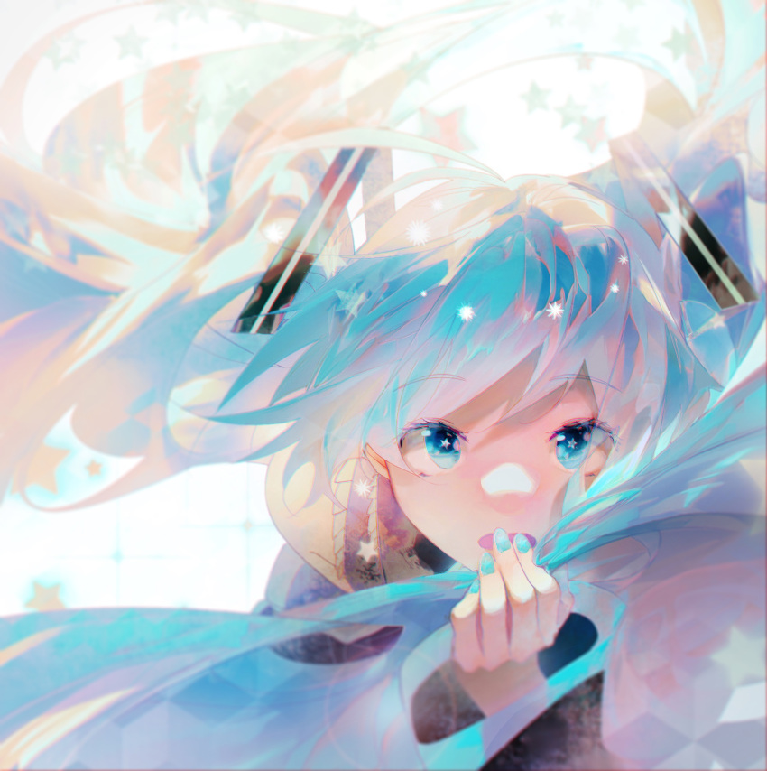 1girl bare_shoulders blue_eyes blue_hair blue_nails blue_theme blurry blurry_background commentary_request dango_(pixiv10520636) expressionless eyebrows_visible_through_hair eyes_visible_through_hair fingernails floating_hair grey_shirt hand_on_own_face hand_to_own_mouth hand_up hatsune_miku highres leaning leaning_forward long_hair long_sleeves looking_at_viewer messy_hair multicolored_hair open_mouth shaded_face shiny shiny_hair shirt simple_background solo sparkle star-shaped_pupils star_(symbol) starry_background symbol-shaped_pupils tareme twintails very_long_hair vocaloid white_background wide_sleeves