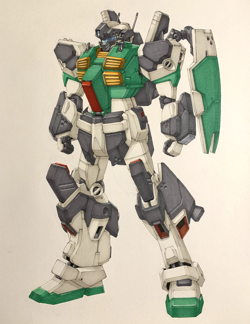 clenched_hands eclogue.566 gundam gundam_sentinel highres looking_ahead mecha no_humans nouvel_gm_ii radio_antenna science_fiction shield solo standing traditional_media vernier_thrusters visor