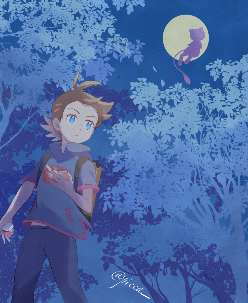 1boy :o antenna_hair artist_name backpack bag black_pants blue_eyes brown_bag brown_hair commentary_request eyelashes gen_1_pokemon gen_4_pokemon goh_(pokemon) highres holding holding_poke_ball leaves_in_wind looking_to_the_side male_focus mei_(maysroom) mew moon mythical_pokemon night open_mouth outdoors pants poke_ball poke_ball_(basic) pokemon pokemon_(anime) pokemon_(creature) pokemon_swsh_(anime) rotom rotom_phone short_sleeves side_slit silhouette tree watermark