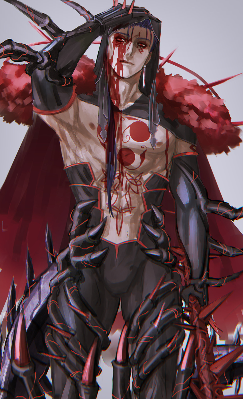 1boy arm_up blood blood_on_face blue_hair bodypaint cape cowboy_shot cu_chulainn_(fate)_(all) cu_chulainn_alter_(fate/grand_order) dark_persona earrings elbow_gloves facepaint fate/grand_order fate_(series) fur gae_bolg gloves grey_background hair_strand highres holding holding_weapon hood hood_up hooded_cape jewelry kuroda_matsurika licking_lips long_hair looking_down male_focus monster_boy muscle nipples pants red_eyes shirtless simple_background solo tongue tongue_out type-moon weapon