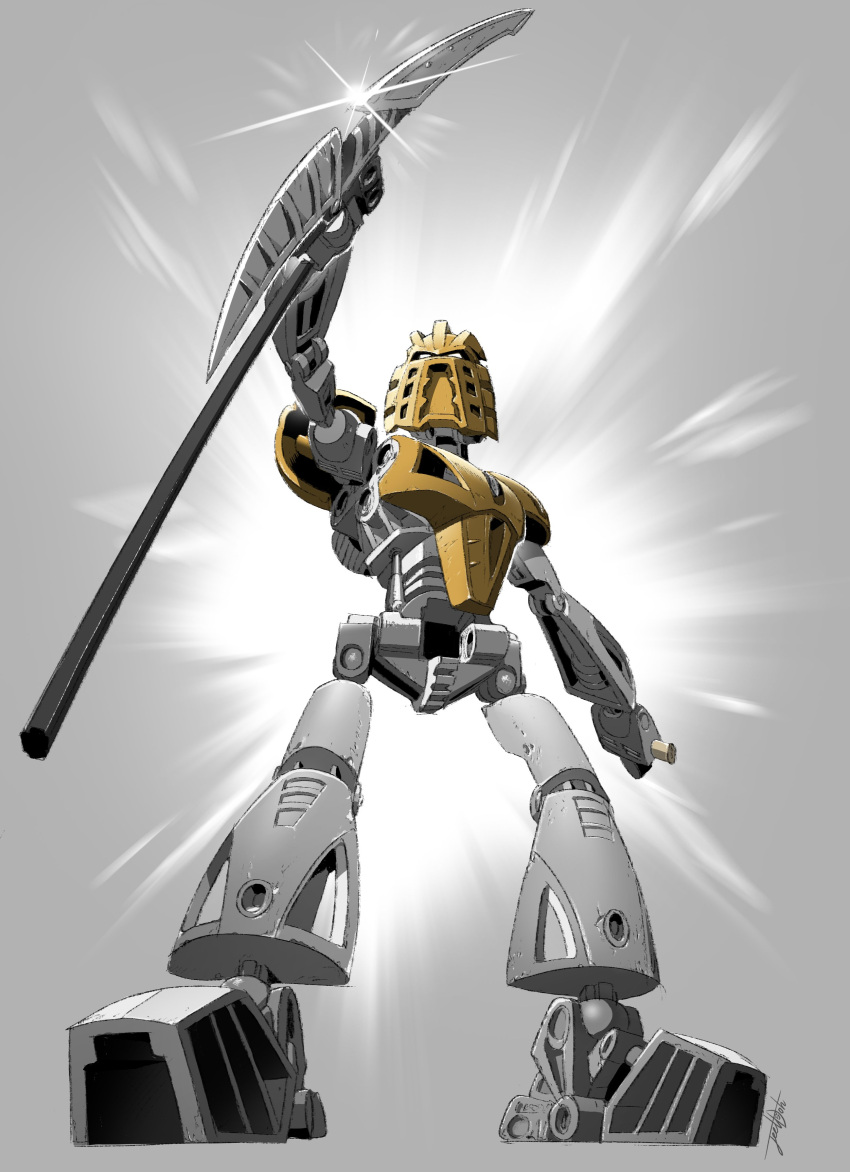 absurdres bionicle glowing glowing_eyes grey_background greyscale highres holding holding_weapon jeetdoh looking_down monochrome no_humans open_hands robot staff takanuva_(bionicle) the_lego_group weapon white_eyes