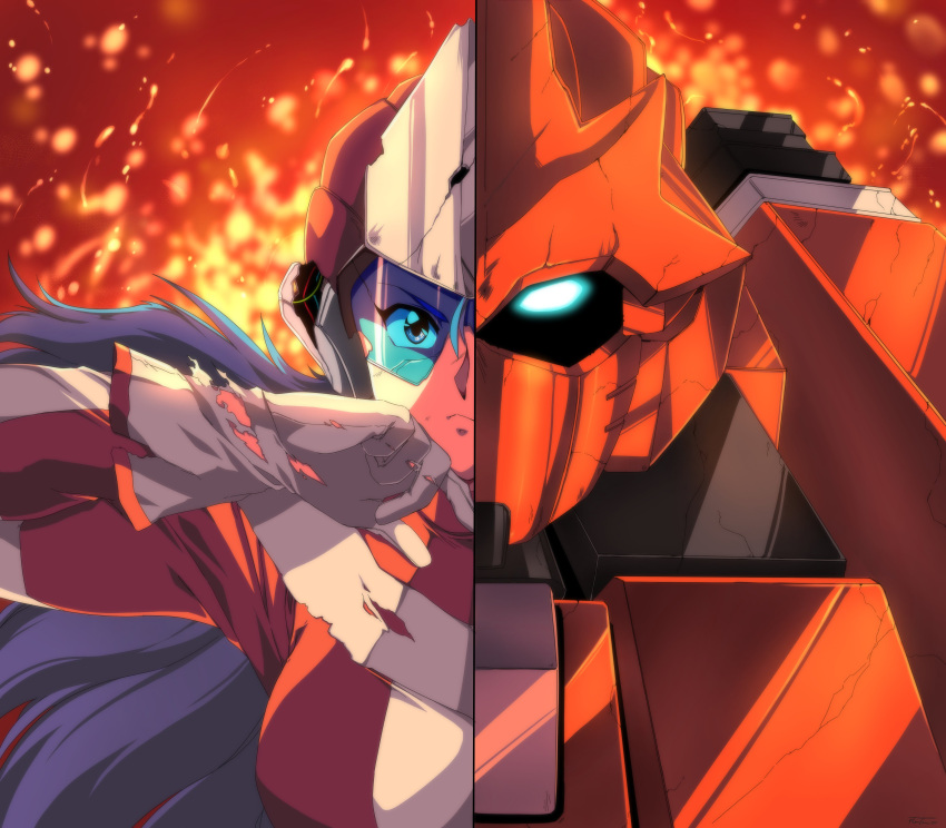 1990s_(style) 1girl 1other absurdres blue_eyes blue_hair bodysuit commentary english_commentary fire flame_(panzer_paladin) gloves glowing glowing_eye harleequeen helmet highres long_hair mecha paladin_(panzer_paladin) panzer_paladin split_screen torn_clothes torn_gloves visor wiping_face